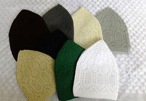 Topi-Kufi-muslim-cap-hat-White-Black