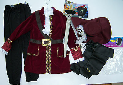 Disney Boys L(10) Captain Hook From Peter Pan Costume Hat Hook & Sword Set