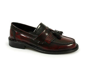 Ikon SELECTA Mens MOD Ska Skinhead Polished Leather Tassle Loafers Oxblood Black