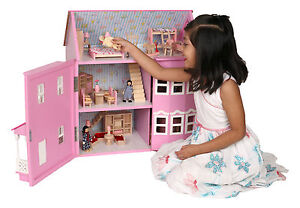 BRAND-NEW-VICTORIAN-DOLL-HOUSES-DOLLS-HOUSE-WITH-6-ROOM-FURNITURES