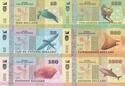 Bonaire set 6 banknotes 2015 UNC (private issue)