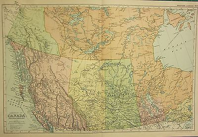 1912 LARGE ANTIQUE MAP ~ DOMINION OF CANADA ~ WESTERN ~ BRITISH COLUMBIA ALBERTA