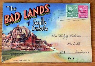 Postcard Foldout Bad lands South Dakota 16 pics Posted 1955 M26