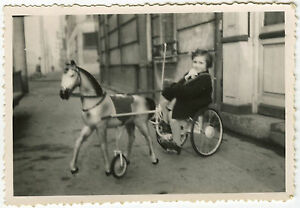photo ancienne vintage snapshot enfant jouet cheval de bois voiture p dales ebay. Black Bedroom Furniture Sets. Home Design Ideas