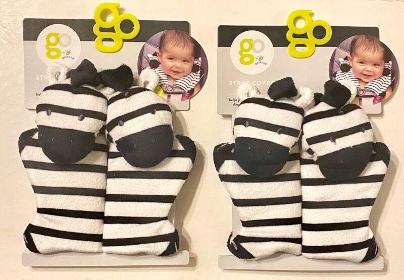 2 Sets (4 Covers) Goldburg Car Seat & Stroller Comfort Straps Cover Pals Zebra