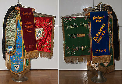 Gestickte Tisch-Fahne FRÖHLICHE STÖPSLER Landshut mit weiteren 15 Wimpeln / RAR