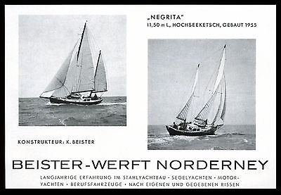 Grosse Werbung 1958  Hochseeketsch Yacht NEGRITA (2) Beister-Werft Norderney