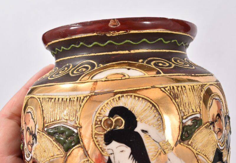 PAIR Vintage JAPANESE SATSUMA Moriage POTTERY Wall Pockets Ornate VASES Signed