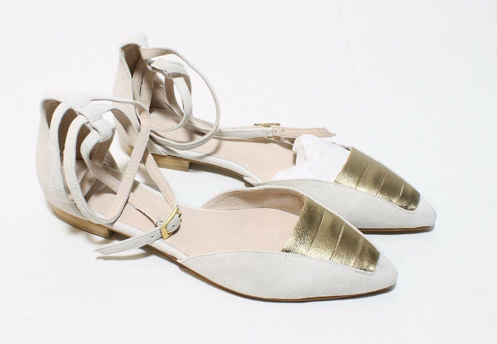 Plomo Georgina Flat Sandal Off white New 38 8 M ankle Buckle