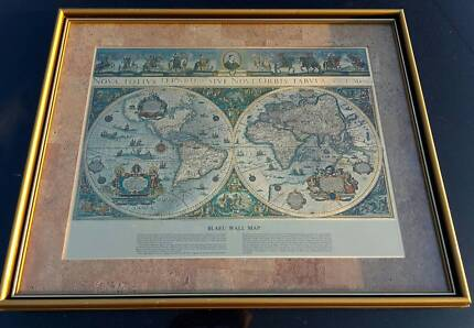 Famous Vintage Wall Map of Old and New World by BLAEU
