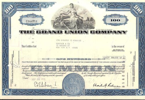 Stock certificate Grand Union Company 1970s 100 shares State of Delaware