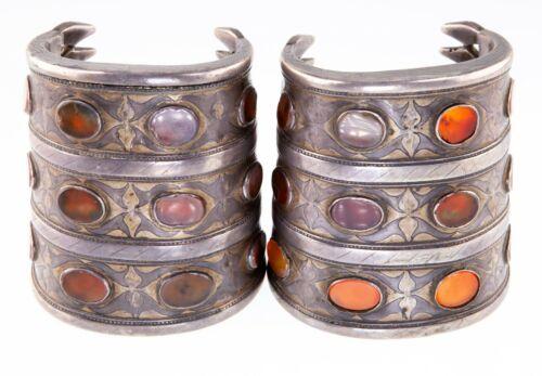 Antique Pair of Wide Turkmen Turkoman Carnelian Silver Cuff Bracelets