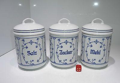 3 JÄGER Porzellan Dose Deckel Indisch Blau-Saks  Strohblume Salz Zucker Mehl