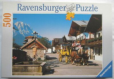 Ravensburger Puzzle 500 - Romantische Frühlingsstraße gegen Zugspitze - 1999 TOP