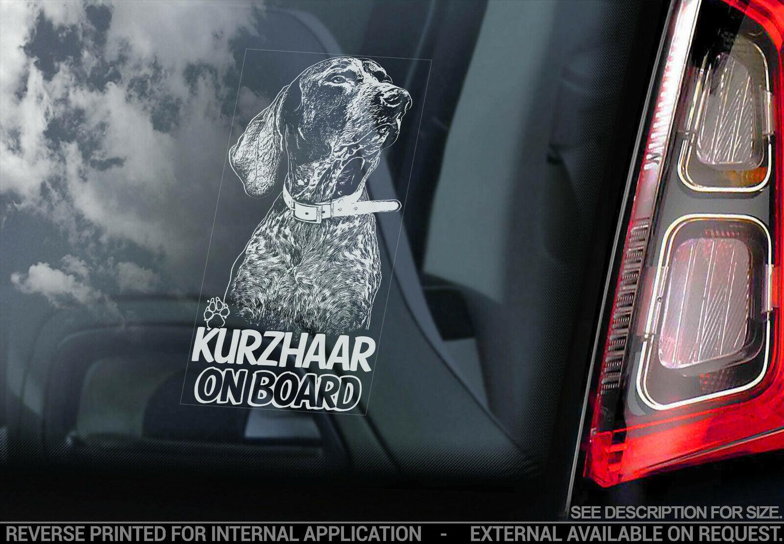 German Longhaired Pointer on Board Car Window Sticker Kurzhaar Dog Decal V03