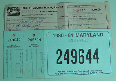 1980 Maryland Resident Turkey Hunting Matching License & Back Tag...Free Ship!