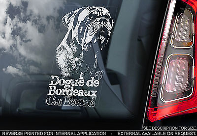 Dogue de Bordeaux - Car Window Sticker - French Mastiff Dog on Board Sign - TYP3