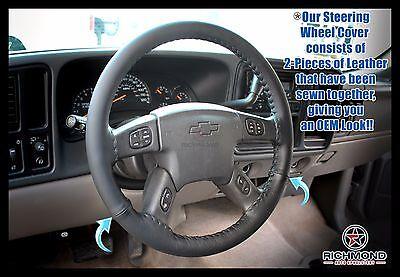 - 2005 2006 2007 GMC Sierra 2500HD SLT SLE -Black Leather Steering Wheel Cover