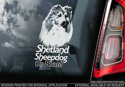 Shetland Sheepdog - Car Window Sticker - Dog on Board Sign - Collie Sheltie TYP2