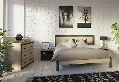Pack habitacion matrimonio cama 2 mesitas de noche comoda industrial 160x200