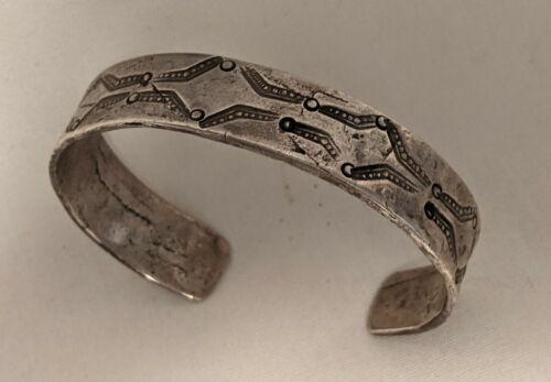 Early Stamped NAVAJO INGOT SILVER BRACELET Circa 1910-20