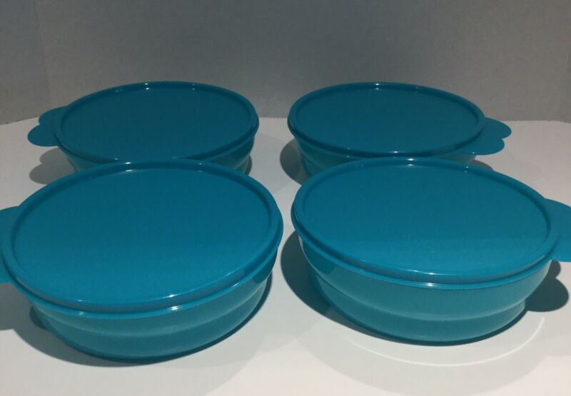 Tupperware Set of 4 Microwave Cereal Bowls with Seals Impressions Teal Blue New