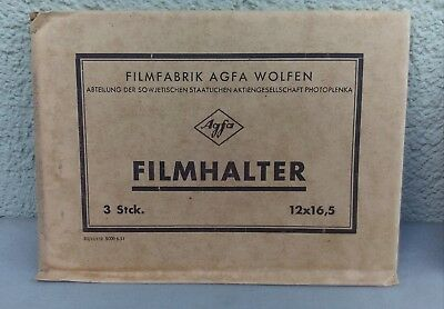 3 Agfa FILMHALTER 12 x 16,5 Planfilmhalter Planfilmkassette Fotografie OVP NOS
