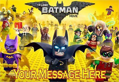 LEGO BATMAN MOVIE A4 ICING CAKE TOPPER (Lego Batman Cake)