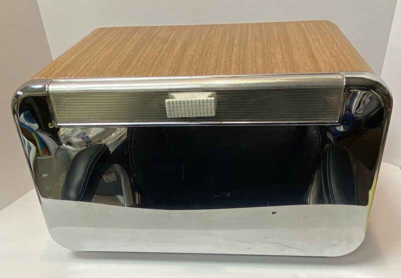 Vintage Mid-Century Modern Chrome/Wood Tone Masterware Metal Bread Box Breadette