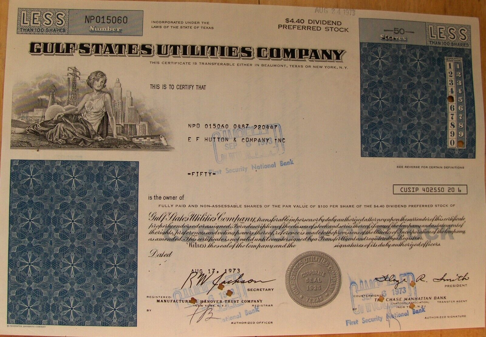 Gulf States Utilities Stock certificate. Less Than 100 Shares 1972-1973