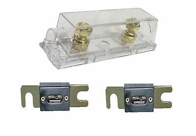 Quality 1/0/4/8 Gauge ANL Fuse Holder + 2 Pack Gold 150 Amp 150A Fuse ()