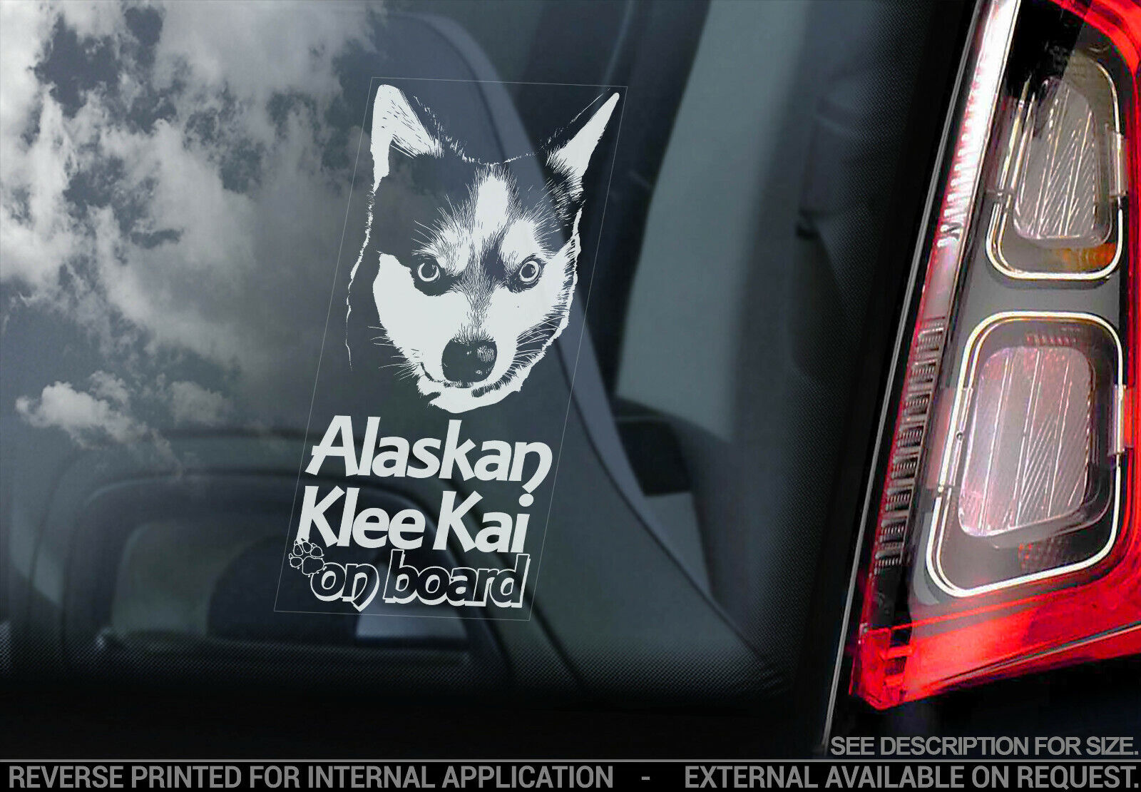 Alaskan Malamute Auto Aufkleber,Schlitten Hund Fenster Bumper Schild Aufkleber