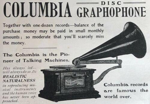 Antique11-1903 DISC GRAPHOPHONE Columbia Phonograph Vtg Print Ad~JUST ONE DOLLAR