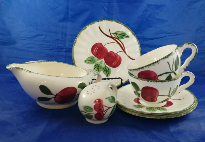 Lot of 7 Vintage Blue Ridge Southern Potteries Hand Painted Apple Cherry