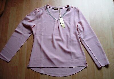 Elegante dünne Bluse,Shirt v.shiny diva,langarm,altrosa Silberborde,Gr.38/40,Neu (Silber Diva)