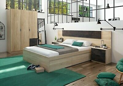 Pack muebles dormitorio Andy armario cabezal mesitas cama 150x190 industrial
