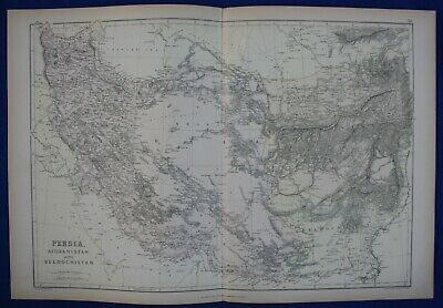 PERSIA, IRAN, AFGHANISTAN, BALOCHISTAN, original antique atlas map, Weller, 1884