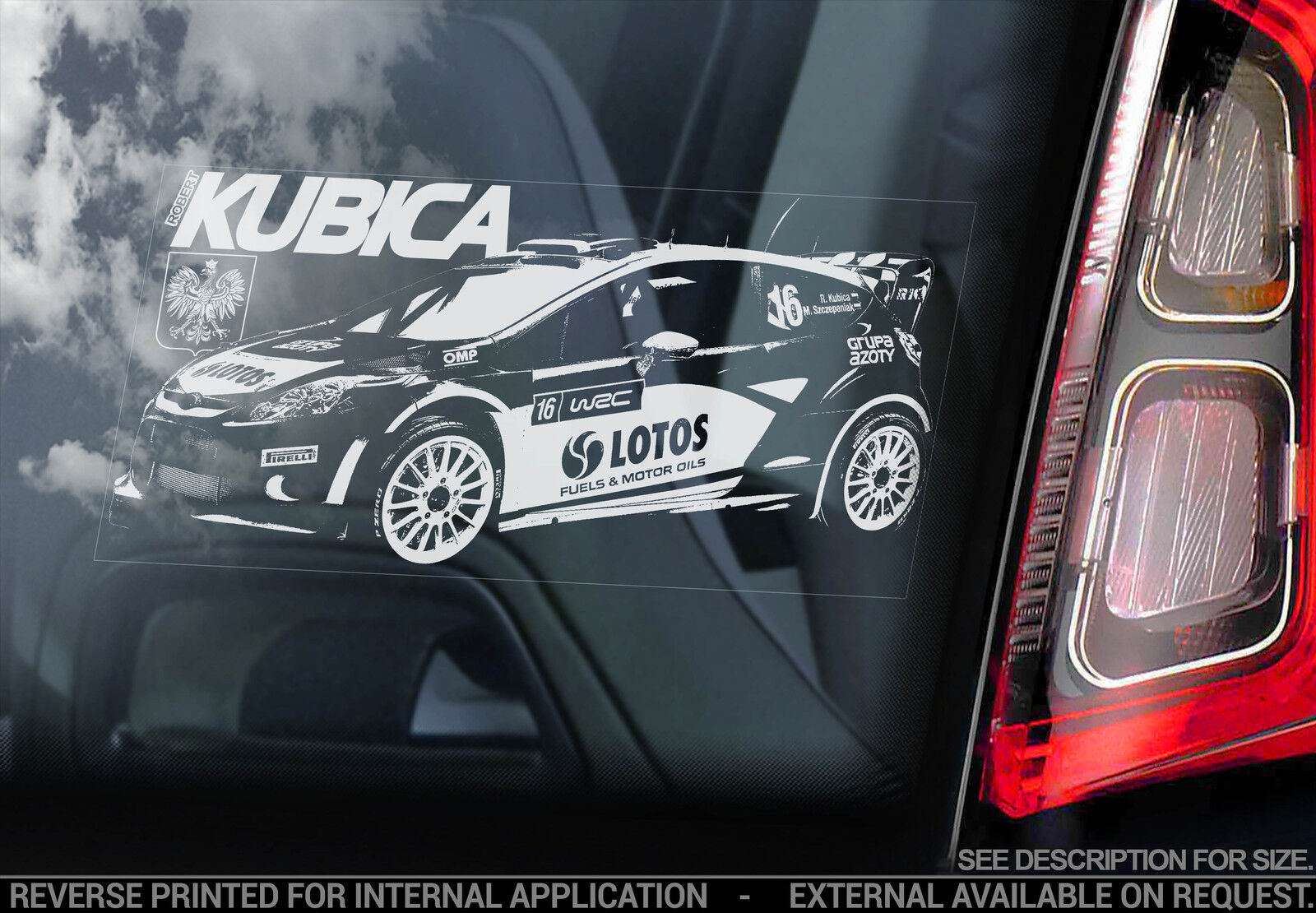 Robert kubica car window sticker ford fiesta rally wrc for Kubica cars