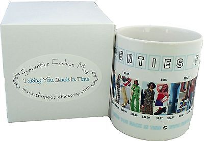Coffee Mug Featuring 70s Fashion Clothing From The Seventies Including Prices - Clothes From The Seventies