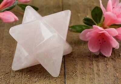 ROSE QUARTZ Crystal Merkaba Star - S, M - Carved Sacred Geometry Stone E0878