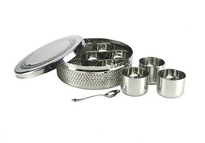 Stainless Steel Spice Tin Masala Dabba Hammered Indian Authentic Spice Tin  Indian Spice Kitchen