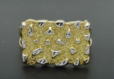 Real Solid 10K Yellow White Gold Mens Nugget Square Ring 19.8mm ALL -