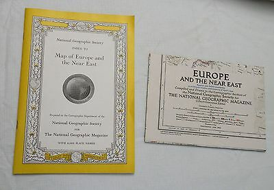 1949, Map of Europe and the Near East, National Geog Soc, MAP PLUS INDEX!!  VG