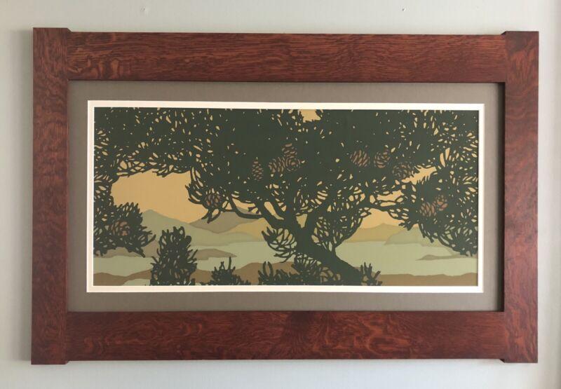 Mission Style Quartersawn Oak Large Arts & Crafts Framed Print-Silvertip Fir