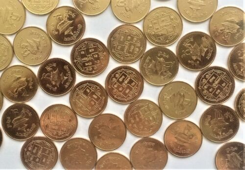WHOLESALE 100 NEPAL 5 RUPEES SHAH DYNASTY COINS of 1995 with TEMPLE KM # 1075.1