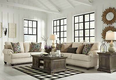 NEW Beige Chenille Fabric Living Room Furniture 2 piece Sofa & Loveseat Set IG2V