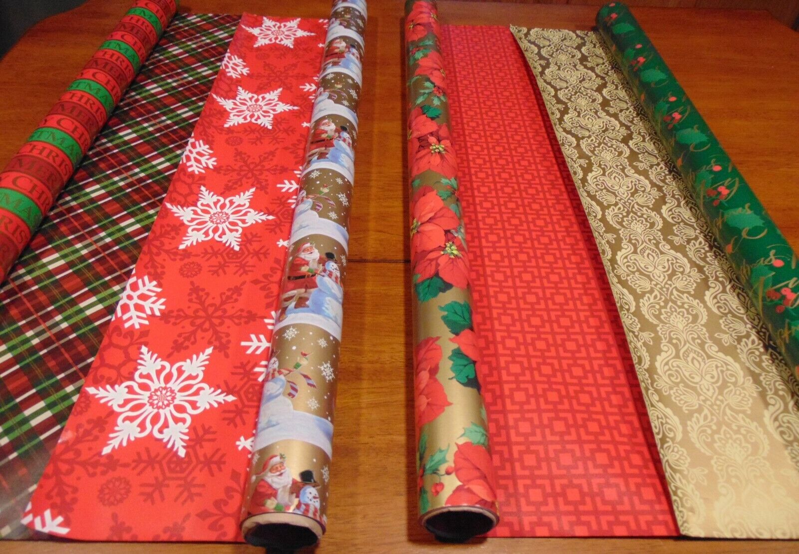 Hallmark Christmas wrapping paper set of 4 rolls double side