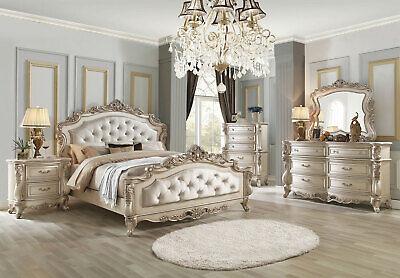 Old World Antique White Bedroom Furniture - DAPHNE 5pcs King Upholstered Bed Set