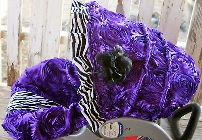 infant car seat cover and hood cover Purple Roses With (Infant Zebra Car Seat Cover)