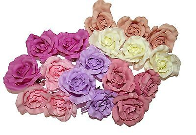 **NEW** LARGE PASTEL ROSE ON FORKED HAIR CLIP ACCESSORIES 50s WEDDINGS - Burlesque Accessories
